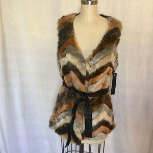 NWT Tinsel Denim Couture Multicolor Retro Faux Fur